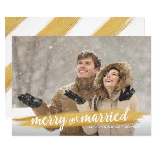 Foto feliz y casada del día de fiesta de la invitación 12,7 x 17,8 cm