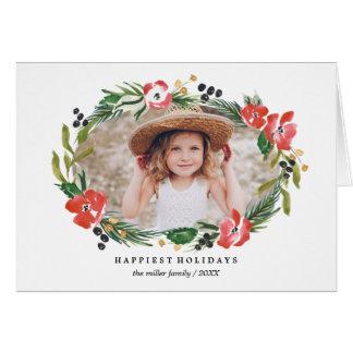 Foto floral del día de fiesta de la acuarela tarjeta de felicitación