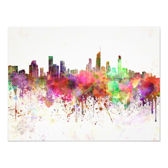 Foto Gold Coast skyline in watercolor background