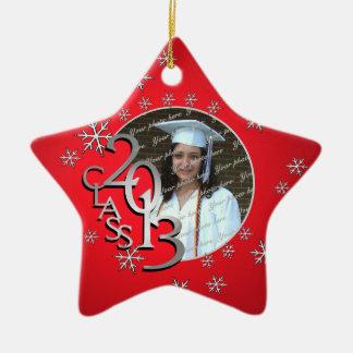 Foto graduada de 2013 estrellas adorno navideño de cerámica en forma de estrella