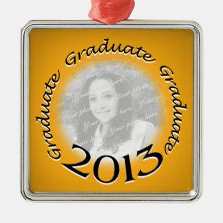 Foto graduada del oro 2013 adorno navideño cuadrado de metal