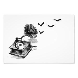 Foto Gramófono e impresión del arte de los palos
