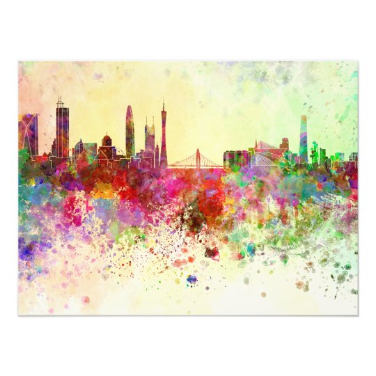 Foto Guangzhou skyline in watercolor background