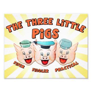 Foto Impresión del carácter de tres pequeña cerdos