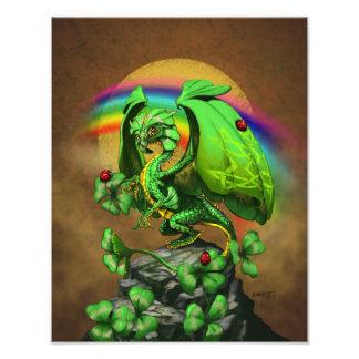 Foto Impresión del dragón 11x14 del trébol de la suerte