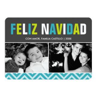 Foto intrépida y colorida de Feliz Navidad Invitación 12,7 X 17,8 Cm