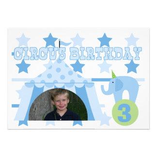Foto invitación del cumpleaños circo 5x7 de encarg