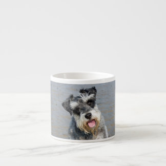 Foto linda del perro miniatura del Schnauzer en la Taza De Espresso