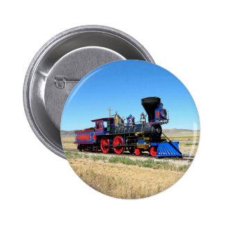 Foto locomotora del tren del motor de vapor chapa redonda 5 cm