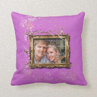 Foto marrón púrpura del aniversario de boda cojín decorativo