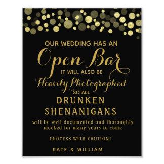 Foto Muestra abierta del oro y del boda de la barra del
