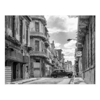 Foto negra y blanca del viaje de Cuba del coche de Postal