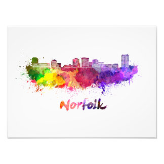 Foto Norfolk skyline in watercolor