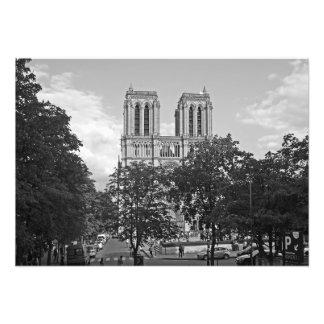 Foto Notre Dame de Paris en el ambiente de árboles