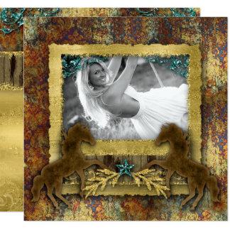 Foto occidental del caballo del vintage del oro invitación 13,3 cm x 13,3cm