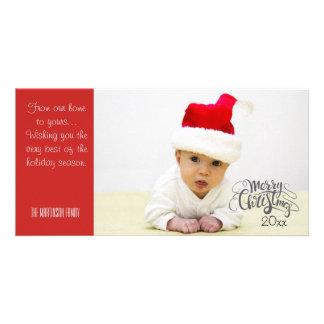 Foto personalizada de las Felices Navidad con año Tarjeta