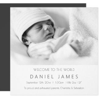 Foto personalizada invitación moderna del bebé