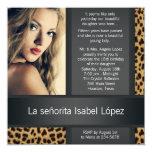 Foto personalizada Quinceanera del leopardo Comunicados Personales