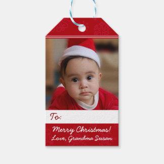Foto personalizada rojo del día de fiesta del etiquetas para regalos