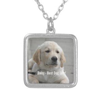 Foto personalizada y nombre del perro del golden colgante cuadrado