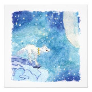 Foto Pintura infantil de la acuarela con el lobo nevoso