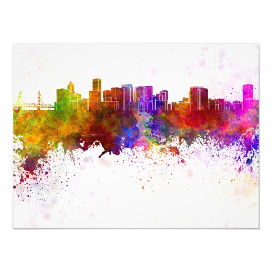 Foto Portland skyline in watercolor background