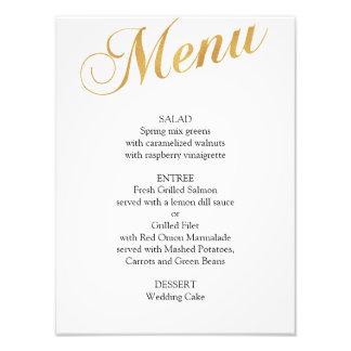 Foto Poster del menú del boda del oro. Menú elegante de