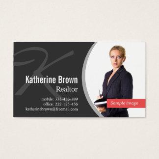 Foto profesional moderna del monograma del agente tarjeta de negocios