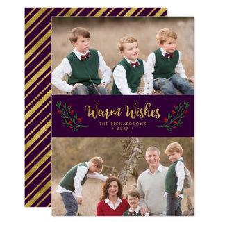 Foto púrpura del día de fiesta de los deseos invitación 12,7 x 17,8 cm