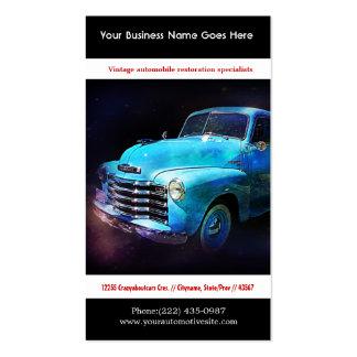 Foto restaurada azul brillante del auto del tarjetas de visita