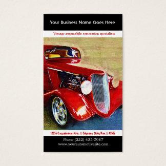 Foto restaurada rojo brillante del auto del tarjeta de negocios