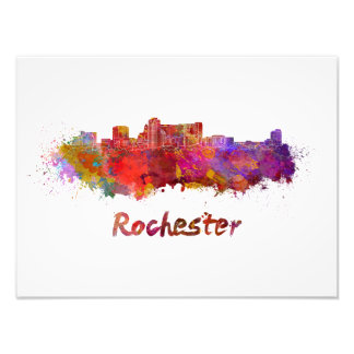 Foto Rochester MN skyline in watercolor