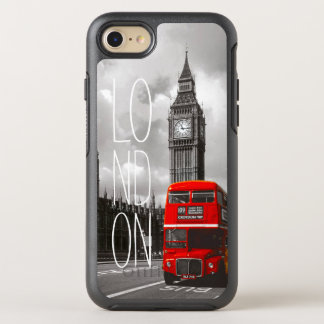 Foto roja de Big Ben del autobús del vintage de la Funda OtterBox Symmetry Para iPhone 7