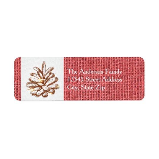 Foto roja de Pinecones de la arpillera - etiqueta