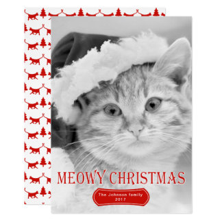 Foto roja del navidad del mascota del gatito del invitación 12,7 x 17,8 cm