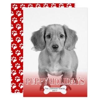 Foto roja del navidad del mascota del hueso de los invitación 12,7 x 17,8 cm