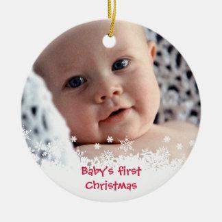 Foto roja del personalizado del niño del pan de adorno navideño redondo de cerámica
