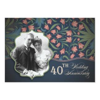 foto romántica del 40.o aniversario invitación 12,7 x 17,8 cm