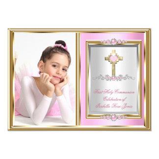 Foto rosada de la perla de los primeros chicas de invitación 12,7 x 17,8 cm