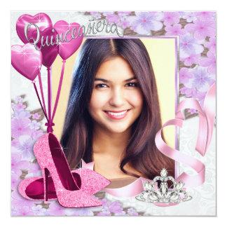 Foto rosada y púrpura Quinceanera Invitación 13,3 Cm X 13,3cm