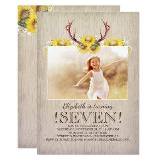 Foto rústica del cumpleaños de los girasoles del invitación 12,7 x 17,8 cm