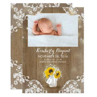 Foto rústica del nacimiento del bebé de los invitación 12,7 x 17,8 cm