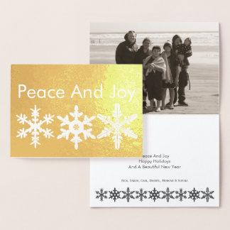 Foto rústica moderna del oro del copo de nieve de tarjeta con relieve metalizado