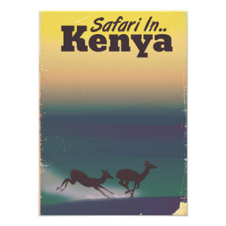 Foto Safari en poster de las vacaciones de Kenia