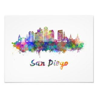 Foto San Diego V2 skyline in watercolor