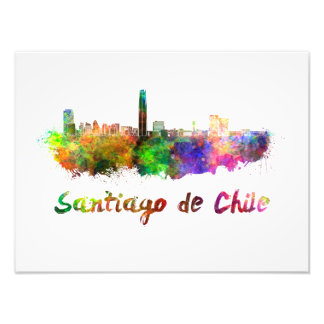 Foto Santiago de Chile skyline in watercolor