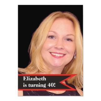 Foto simple del 40.o cumpleaños de las mujeres invitacion personalizada