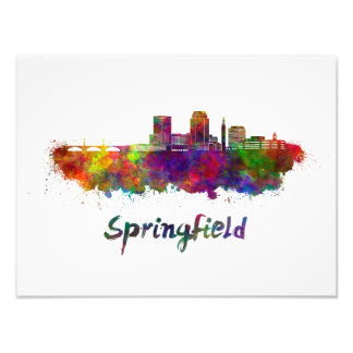 Foto Springfield MA skyline in watercolor