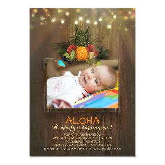 Foto tropical del cumpleaños del bebé de la piña invitación 12,7 x 17,8 cm
