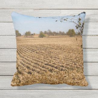Foto v2 del panorama del campo de maíz de Iowa Cojín De Exterior